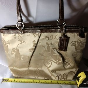 Coach Horse and Carriage Sateen pleated tote